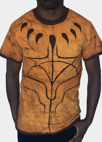 Gold and Brown Short Sleeve T-shirt with Black Panther Claws