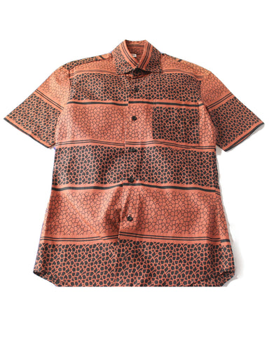 African Print Shirt Fitted Brown
