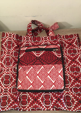 Foldable Tote Bag Red and White