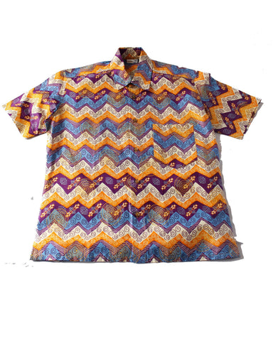 African Print Shirt Orange Blue