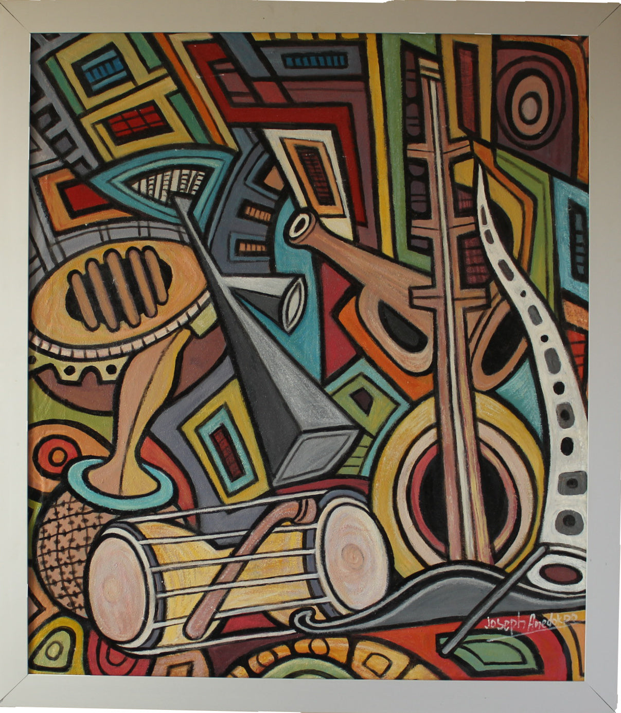 "Silver framed Oil painting ""Musical Instruments"""