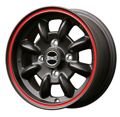 ULML1BR / ULTRALITE MINI WHEELS - 12x5J - ET30 - 4X101.6 PCD - BLACK WITH RED PINLINE