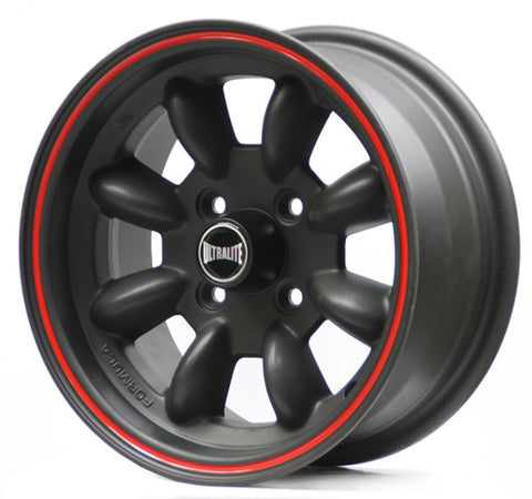 SPML3BR-2 / ULTRALITE MINI WHEELS 13x7J - ET10 - 4x101.6 PCD - BLACK WITH RED PINLINE
