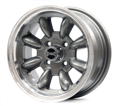 SPML2GM / ULTRALITE MINI WHEELS 13X6J - ET10 - 4x101.6 PCD - GUNMETAL GREY POLISHED RIM