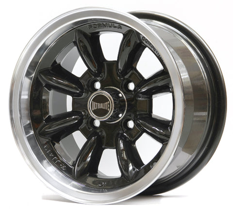 SPML3BK / ULTRALITE MINI WHEELS 13x7J - ET10 - 4x101.6 PCD - BLACK WITH POLISHED RIM