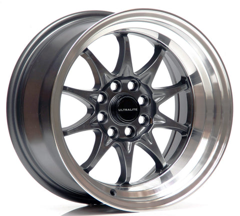 ULTRALITE UL48 15x8 - ET0 - 4x100+108 PCD - GUN METAL GREY POLISHED RIM