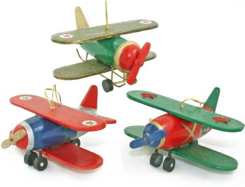 Blue & Red Wooden BiPlane Ornament