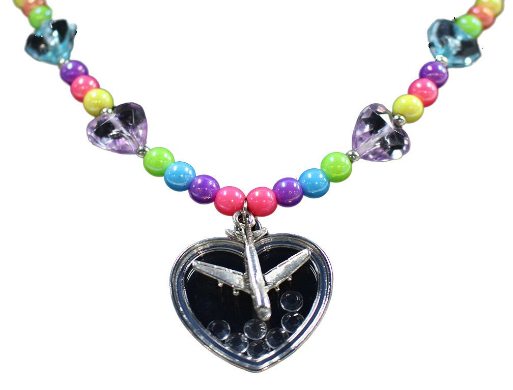 Girls Heart Airplane Necklace