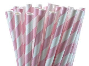 Stripe Paper Straws - Light Pink - Print&Paper