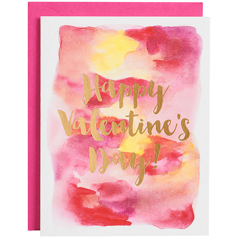 Watercolor Valentine Card with Gold Foil - Print&Paper