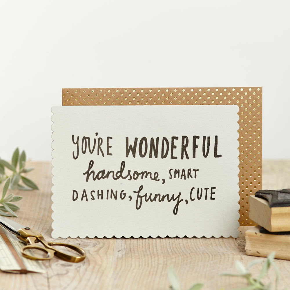 KatieLeamon Luxe Handsome, funny card