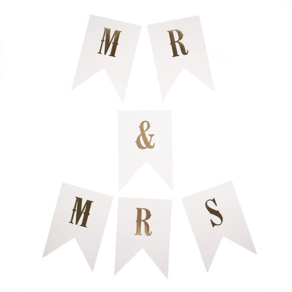 mr and mrs letter banner print paper