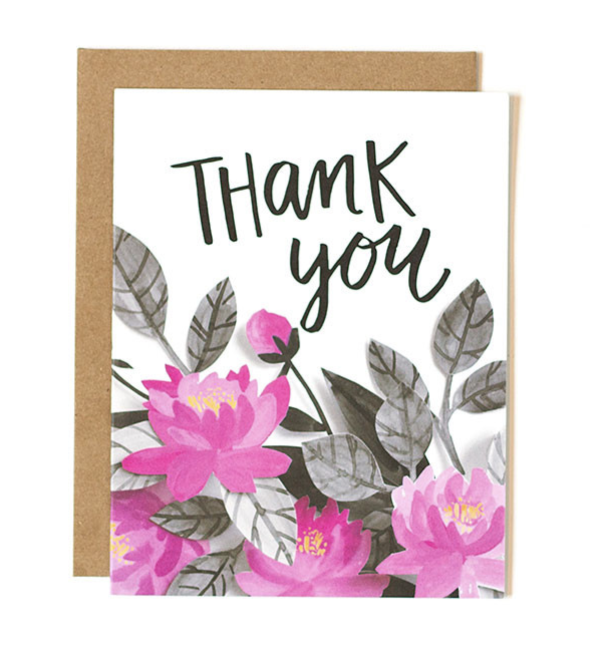 Thank You Pink Floral - Print&Paper