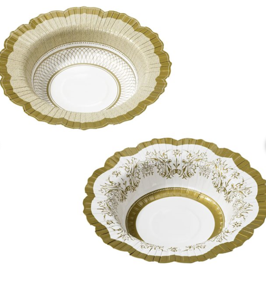 Party Porcelain Gold Bowls - Print&Paper