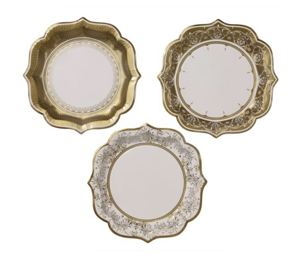Party Porcelain Gold Medium Plates - Print&Paper