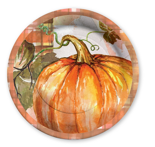 Fall Pumpkin Harvest Thanksgiving Paper Plates - Print&Paper