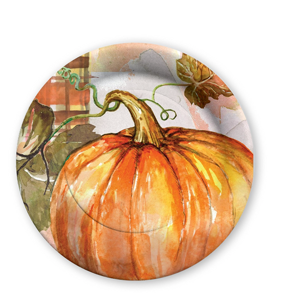 Fall Pumpkin Harvest Thanksgiving Paper Dessert Plates - Print&Paper