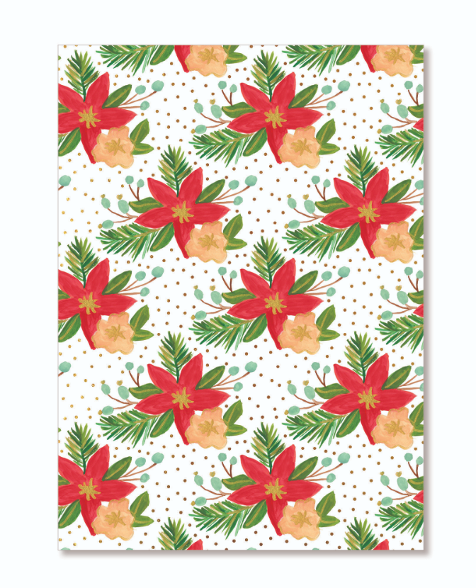Holiday Poinsettia Gift Wrap Sheets ...