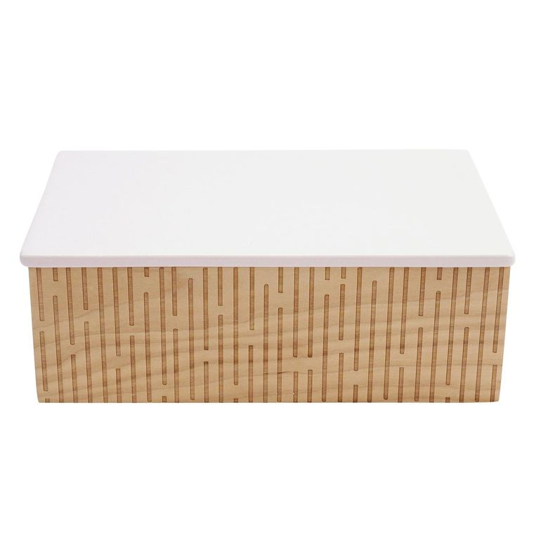 Wood and Ceramic Trinket Box - Linear Design