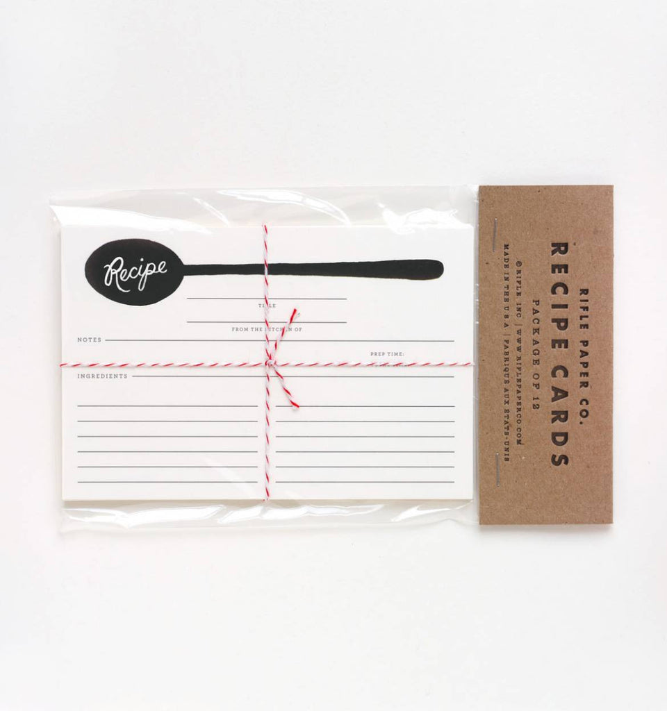 Charcoal Spoon Recipe Cards - Print&Paper