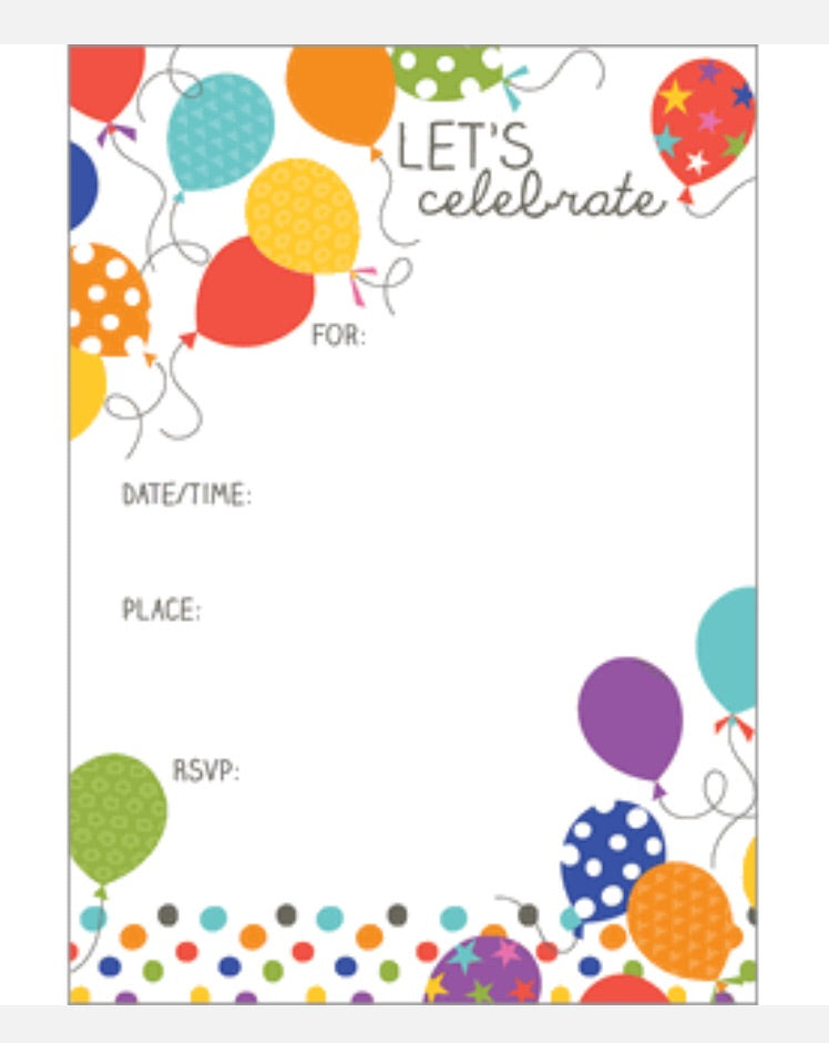 Balloon Party Fill In Invites