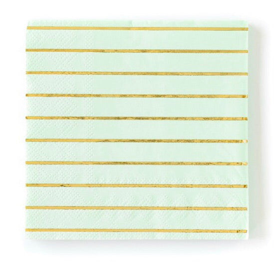 mint and gold stripe napkins