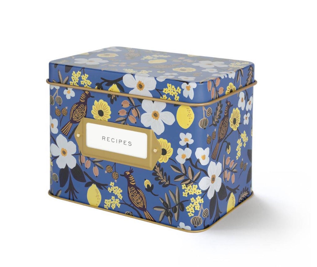 rifle paper blue recipe box
