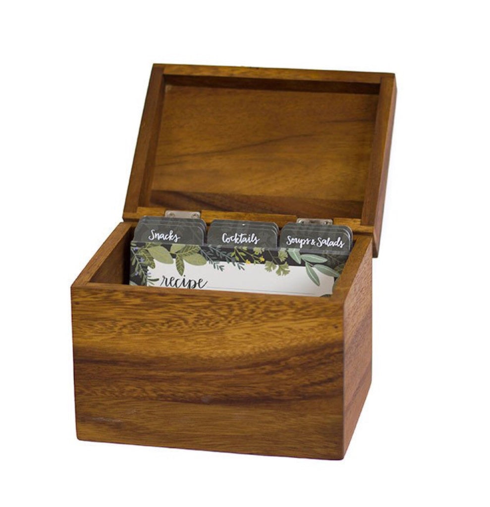 Acacia Wood Recipe Box with cards - Print&Paper