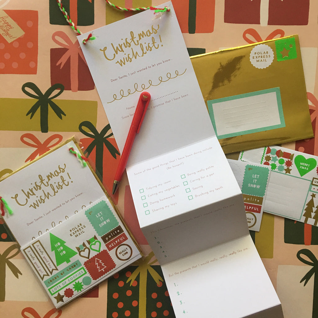 christmas wish list letters to santa print paper