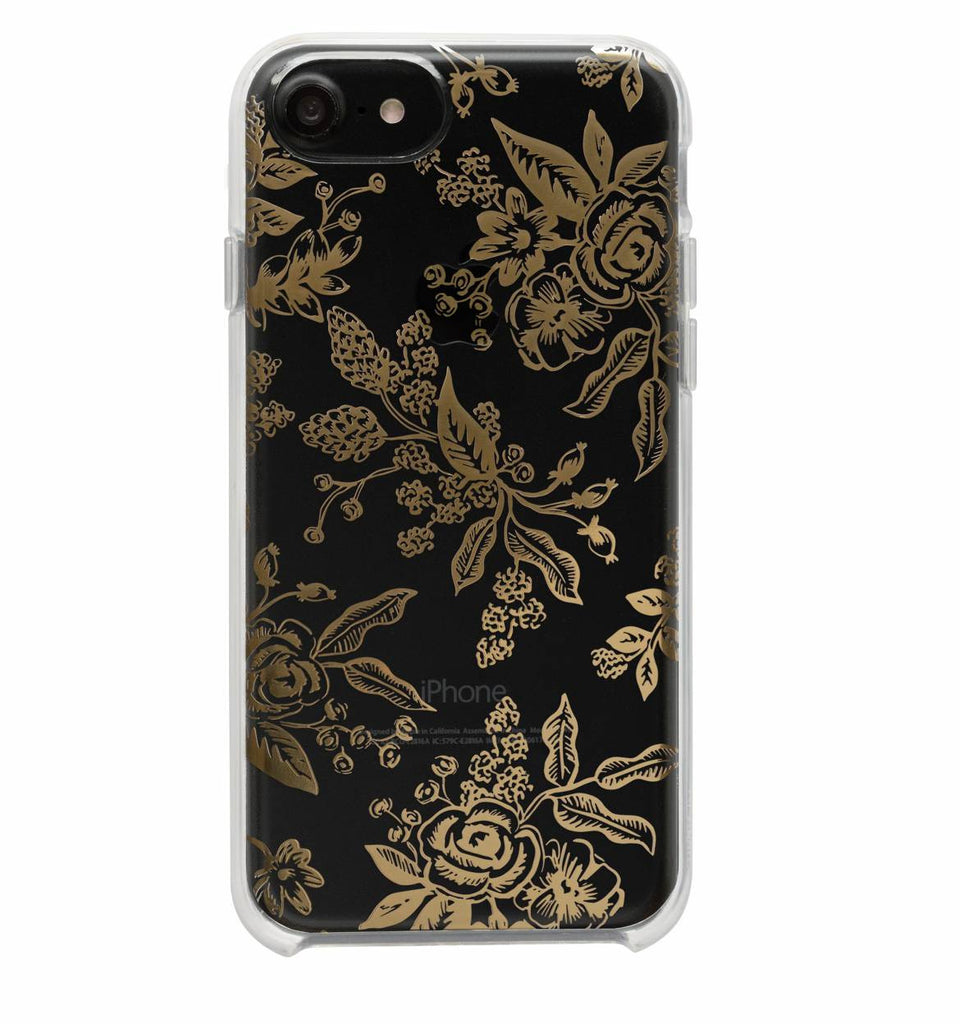 Clear Gold Floral Toile iPhone Case (size options) - Print&Paper