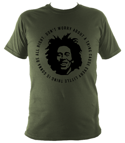 Bob Marley Quote T-shirt, Kids, Military Green