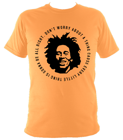 Bob Marley Quote T-shirt, Mens, Tangerine