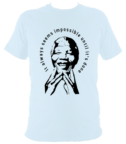 Nelson Mandela Quote T-shirt, Mens, Light Blue