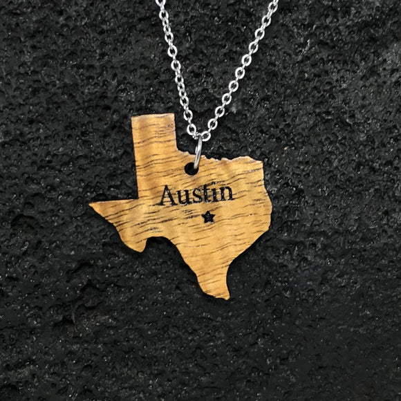 Austin Texas Koa Wood Silver Necklace