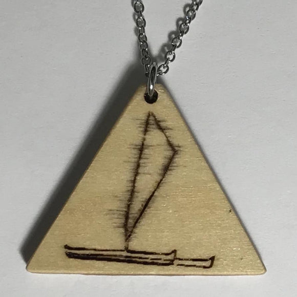 Bass Wood Triangle Shaped Pendant Engraved with a Hawaiian Sailing Canoe Necklace