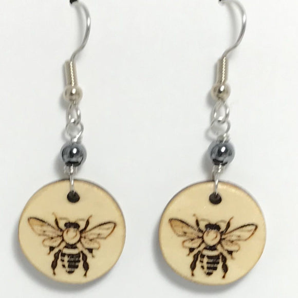 Bee Bass Wood Earrings