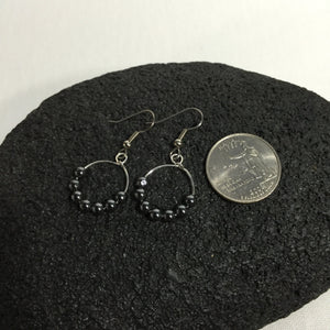 Black Hematite Silver Hoop Earrings