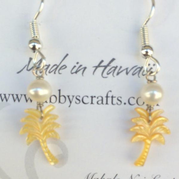 Coconut Tree and Pearl Earrings