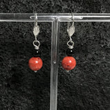 Coral Earrings with Black Agate