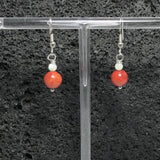 Coral Earrings with White Mother of Pearl Shell