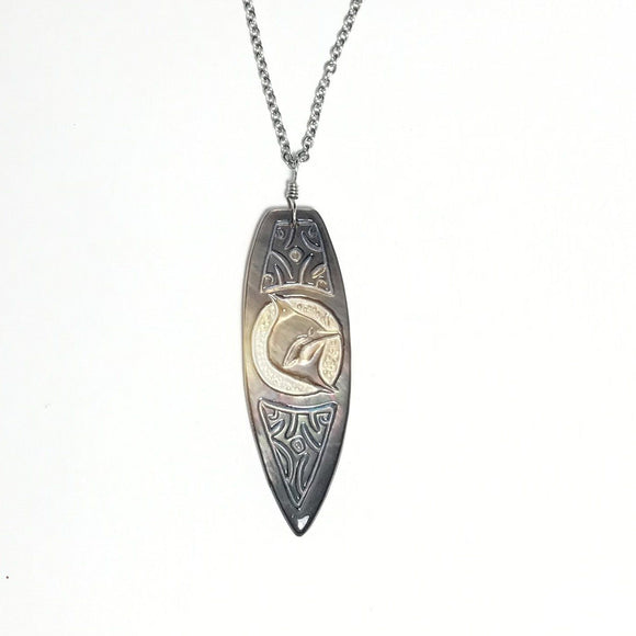 Dolphin surfboard shape Silver Necklace