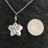 Dragonfly with Plumeria Flower Silver Necklace