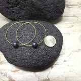 Gold Hoop Pearl Earrings with Black Freshwater Pearls 2.5""