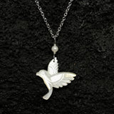 Hand Carved Humming Bird and Pearl Necklace
