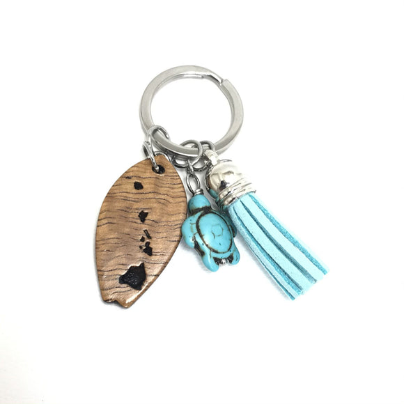 Hawaii Island Koa Wood Keychain with Turquoise Turtle and Tassel