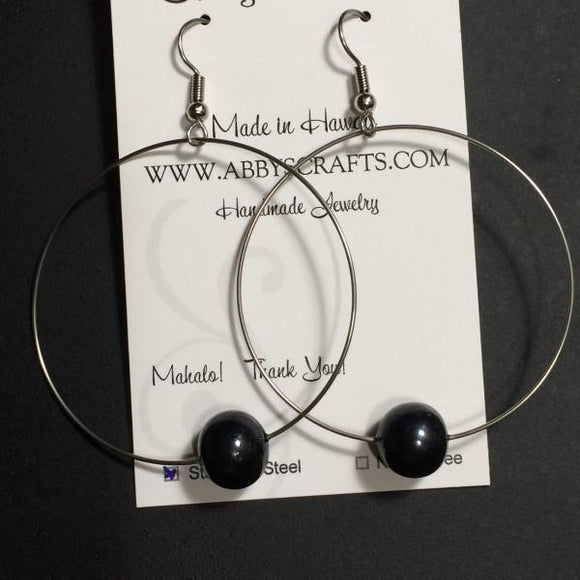 Hoop Black Pearl Earrings