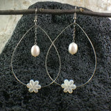 Hoop Earrings with Tiare Flowers and Pearls