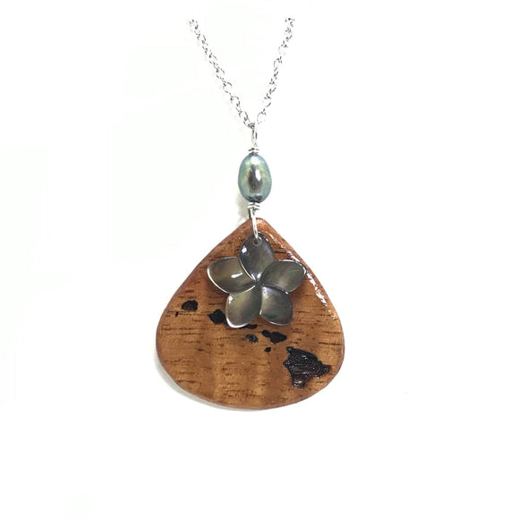 Island Koa Wood with Plumeria silver Necklace