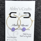 Jade (Purple) Gold Hoop Earrings