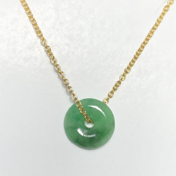 Jade Round Donut shape Gold Necklace